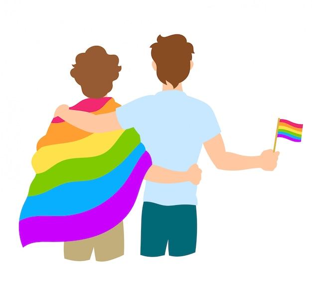 Homosexuelle paare, die mit regenbogen-flagge umfassen