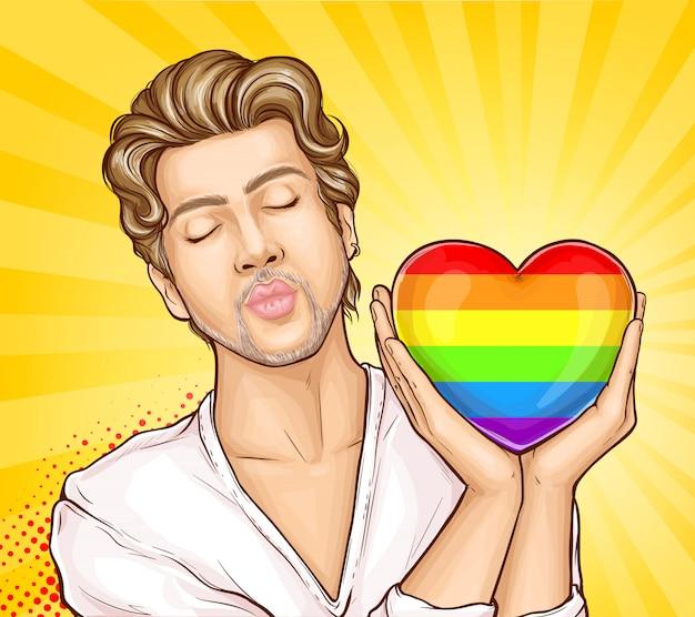 Homosexueller mann mit regenbogenherz-karikaturvektor