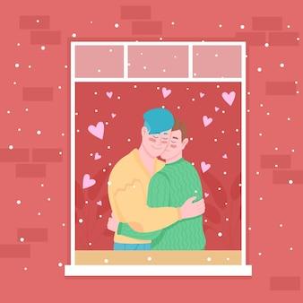 Homosexuelles paar in der hauptfenster-farbillustration. valentinstag. im winterurlaub schneit es.