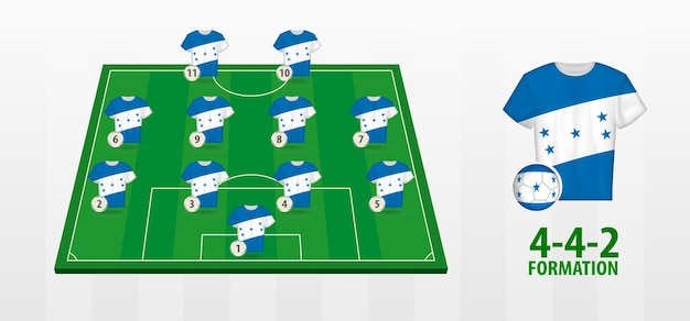Honduras national football team bildung auf dem fußballplatz.