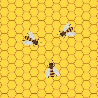 Honey background mit den bienen, die an einer bienenwabe arbeiten