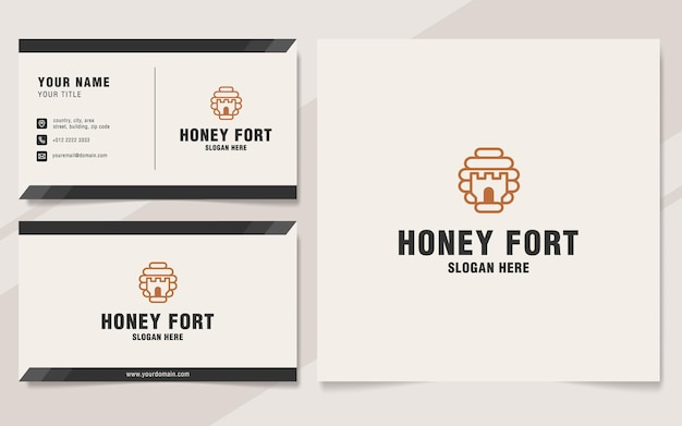 Honey fort logo-vorlage im monogramm-stil