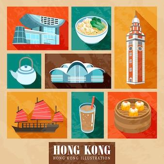 Hong kong attraktionen und delikatessen im flat design