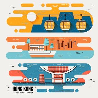 Hong kong berühmte sehenswürdigkeiten im schönen flachen design-stil