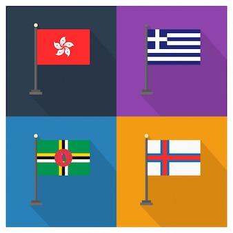 Hong Kong Griechenland Dominica und Färöer-Inseln Flaggen