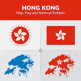 Hong kong karte, flagge und national emblem