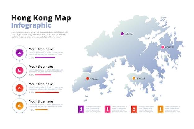 Hong kong karte infografiken gradient