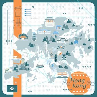 Hong kong kartendesign im flachen stil - der titel oben links ist hong kong im chinesischen wort