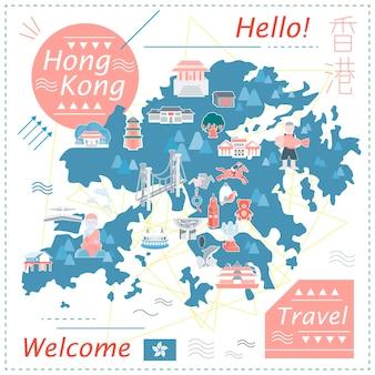 Hong kong kartendesign im flachen stil - der titel oben rechts ist hong kong im chinesischen wort