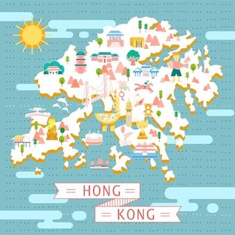 Hong kong kartendesign im flachen stil