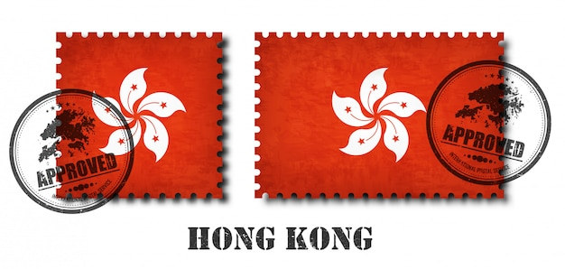 Hong kong oder hong kongese flag muster briefmarke