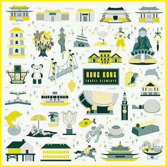 Hong kong reiseelementsammlung im flachen design