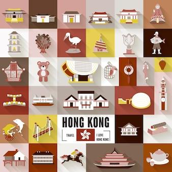 Hong kong reiseelementsammlung mit langen schatten im flachen design