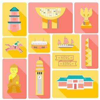 Hong kong reisekollektionen im flat design
