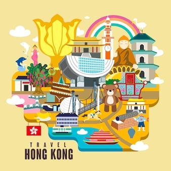 Hong kong reiseplakatdesign mit attraktionen im flachen stil