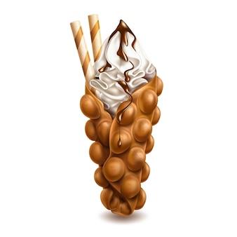 Hong kong waffel oder ei waffel mit vanillecreme