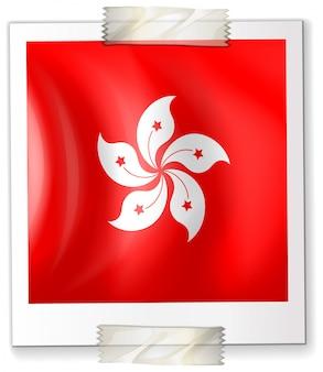 Hongkong flagge auf quadratischem papier