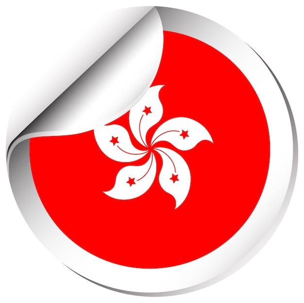 Hongkong-flagge im sticker-design