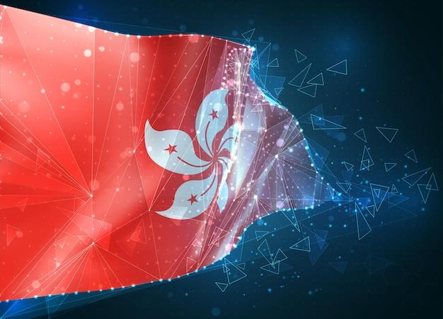 Hongkong, flagge, virtuelles abstraktes 3d-objekt aus dreieckigen polygonen auf blauem hintergrund