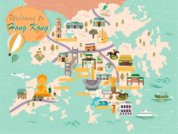 Hongkong-kartendesign im flachen design