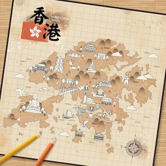 Hongkong-reisekarte auf briefpapier im retro-stil - der titel oben links ist hongkong-reise im chinesischen wort