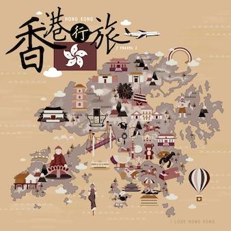 Hongkong-reisekarte im retro-stil - der titel oben links ist hongkong-reise im chinesischen wort