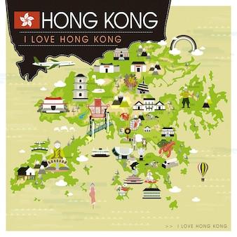 Hongkong-reisekarte mit sehenswürdigkeiten im flachen design