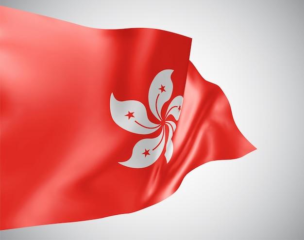 Hongkong, vektorflagge mit wellen und kurven im wind auf weißem hintergrund.