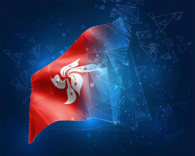 Hongkong, vektorflagge, virtuelles abstraktes 3d-objekt aus dreieckigen polygonen auf blauem hintergrund