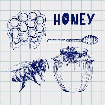Honig eingestellt. vintage handgezeichnete abbildung. gravierte bio-lebensmittel