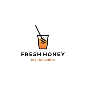 Honig eistee tasse blase getränk logo