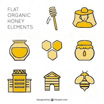Honig-elemente in linearen stil
