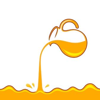 Honig gießt aus krug goldener sirup oder saft tropft spritzer Premium Vektoren