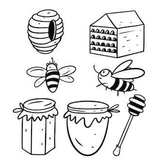 Honig in gläsern und beesset isoliert auf weiß