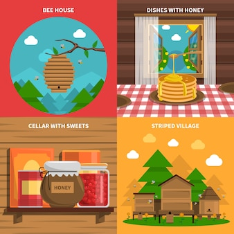 Honig-konzept-icons set