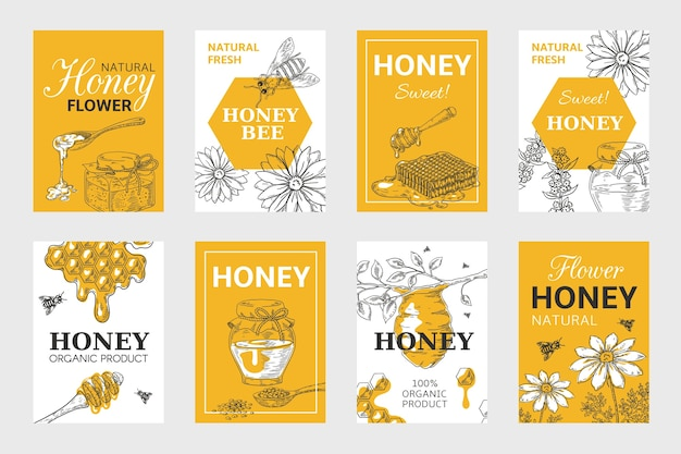 Honig-skizzenplakat. waben- und bienenflieger-set, bio-lebensmittel-design, bienenstock-, glas- und blumenlayout.