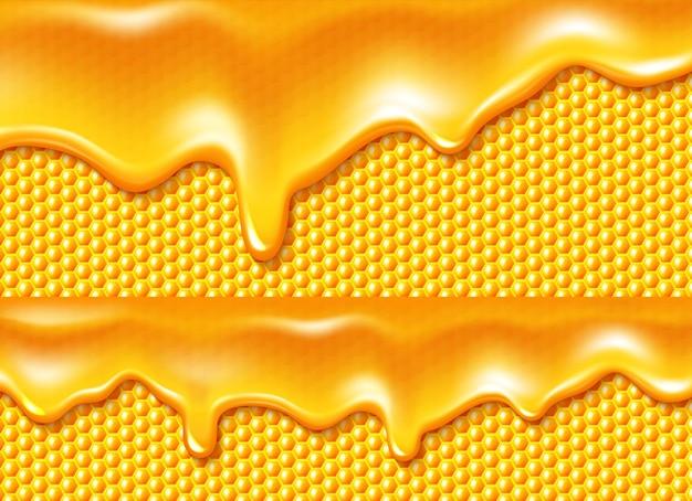 Honig tropft am bienenwabenhintergrund