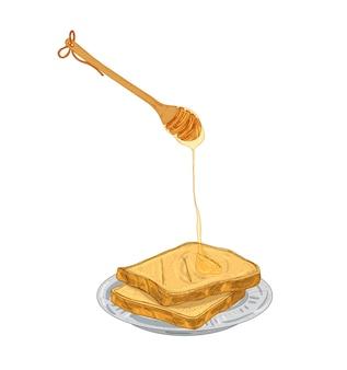 Honig tropft aus holzlöffel auf brotscheiben, die auf dem teller liegen. süße frühstücksmahlzeit, gesundes dessert isoliert auf weißem hintergrund. farbige handgezeichnete vektorgrafik im eleganten retro-stil.