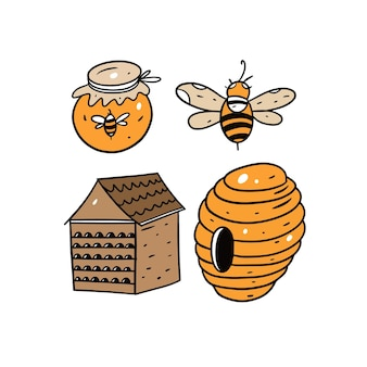 Honig- und bienenzeichnungssatz lokalisiert auf weiß