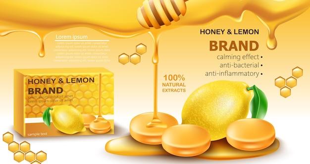 Honig- und zitronentropfen mit natürlichen extrakten
