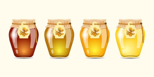 Honig verschiedener art eingestellt. vektorillustration.