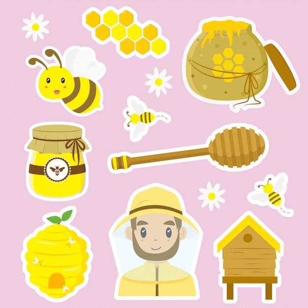 Honigbiene, bienenstock und imkervektorsammlung