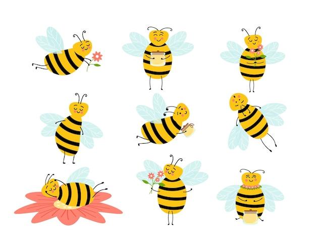 Honigbiene cartoon insekt charakter glückliche fliege illustration. biene-karikatur-maskottchen-zeichen-vektor-sammlung. verschiedene zeichentrickfiguren von bienen mit honig.