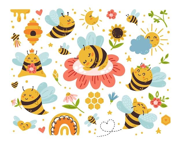 Honigbiene cartoon kinder isoliert clipart-bundle. süße hummelbaby