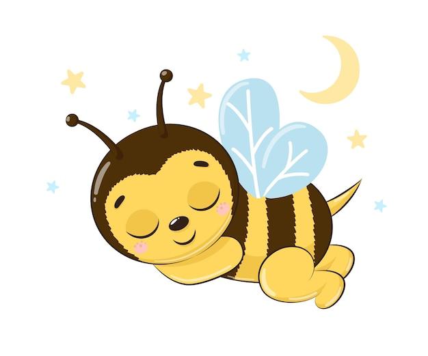 Honigbiene schläft und lächelt.cartoon