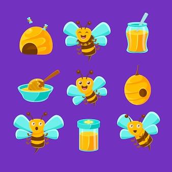 Honigbienen, bienenstöcke und gläser mit gelbem natürlichem satz der bunten karikaturillustrationen