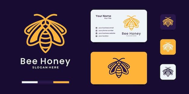 Honigbienen-logo mit einzigartiger logo-design-inspiration im umriss-stil.