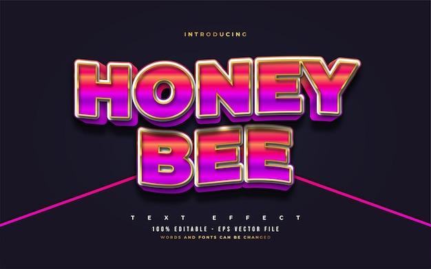 Honigbienen-text im fetten bunten stil mit wellen- und 3d-prägeeffekt. bearbeitbare textstileffekte