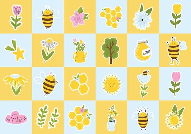 Honigbienenblumen und regenbogencliparts sammlung von frühlingselementen scrapbooking-elemente