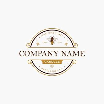 Honigbienenkerzen-logoschablone mit handgezeichnetem bienenvektor